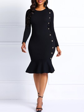 Ericdress Knit Button Long Sleeve Mermaid Dress