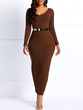 Ericdress Long Sleeve Ankle-Length Bodycon Plain Dress