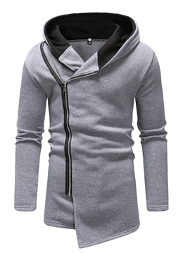 Ericdress Plain Asymmetric Hooded Mens Cardigan Hoodies