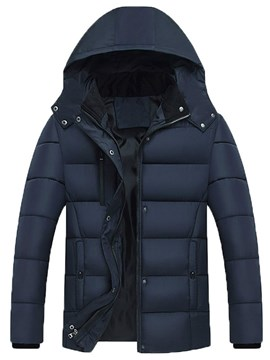 Ericdress Plain Hooded Zipper Thick Mens Quilted Coats