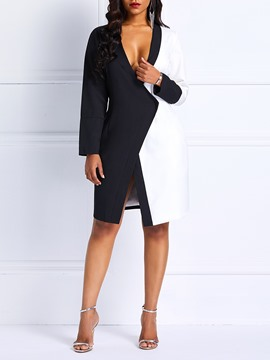 Ericdress Bodycon Above Knee Color Block Dress