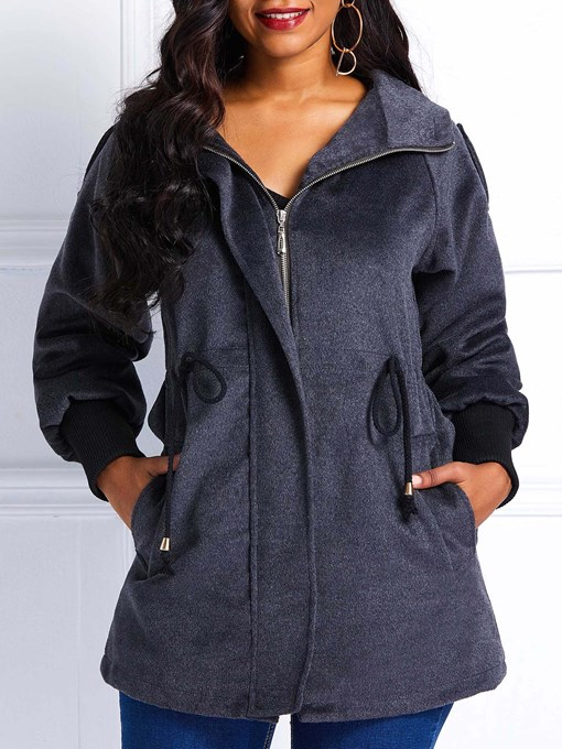 Ericdress Straight Zipper Fall Hooded Overcoat