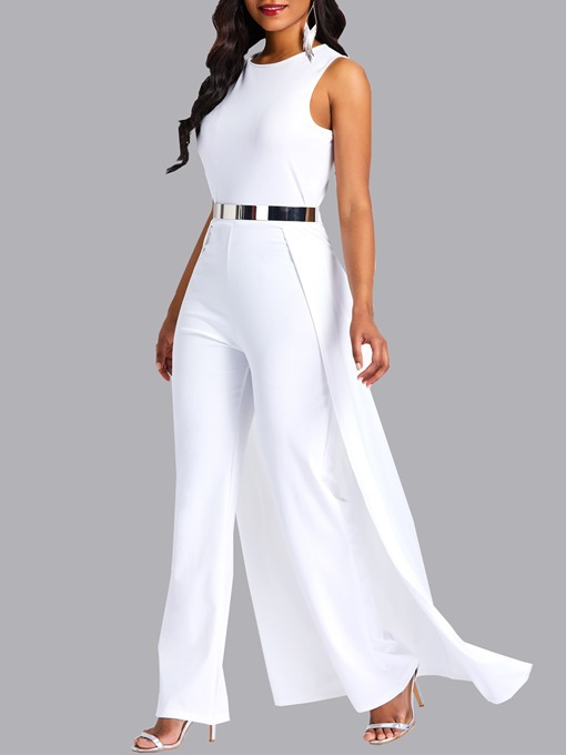 Ericdress Overlay Embellished Plain Slim Patchwork Women's Jumpsuit(Without Waistband)