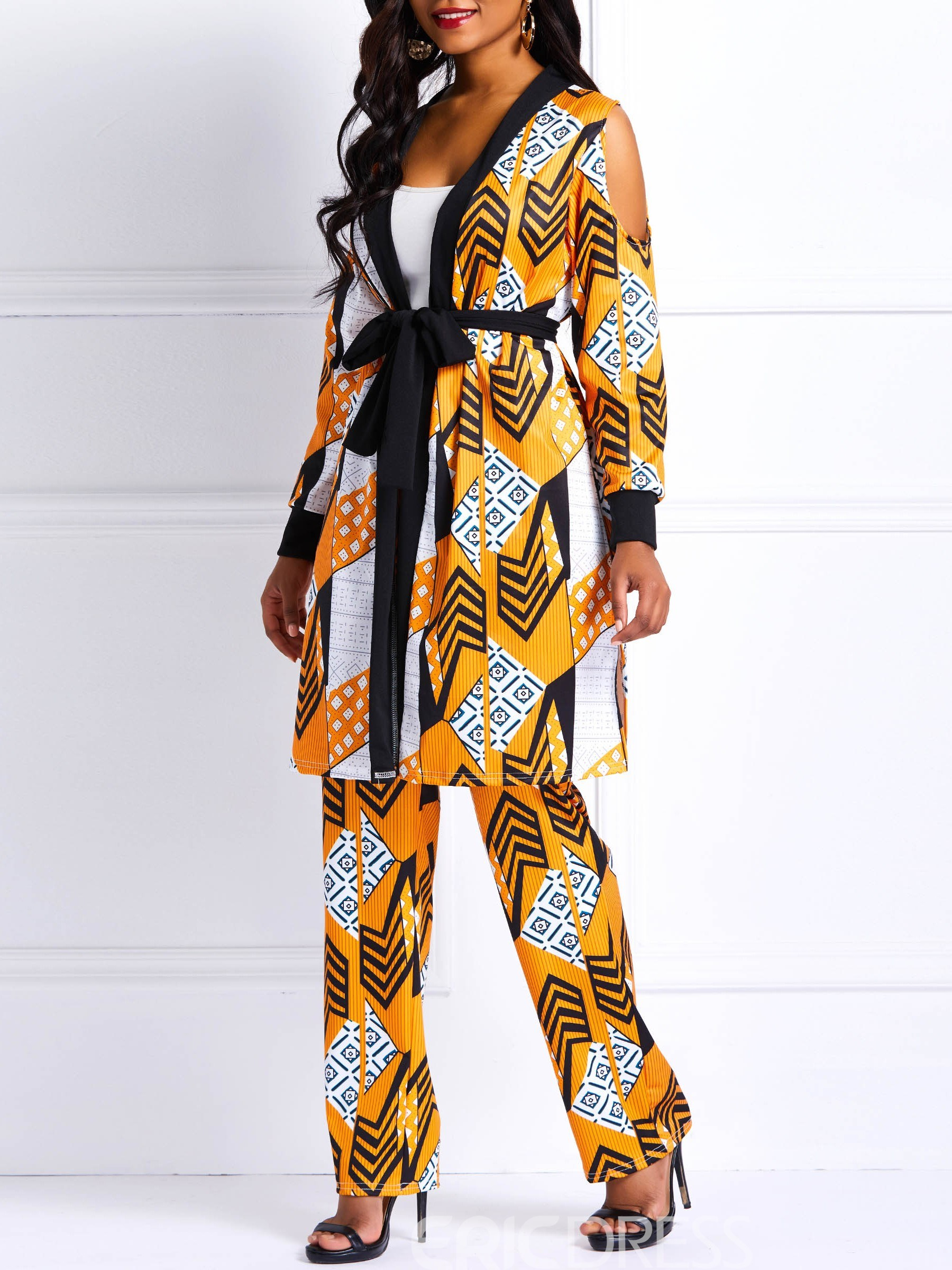 Ericdress African Fashion Lace-Up Color Block Casual Coat And Pants Two Piece Sets