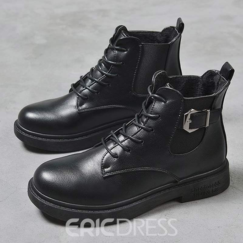 Ericdress Plain Round Toe Lace-Up Women's Winter Boots