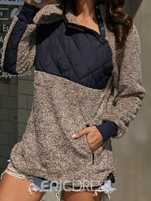 Ericdress Patchwork Regular Mid-Length Long Sleeve Hoodie