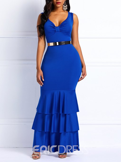 Ericdress V-Neck Sleeveless Floor-Length Ruffles Mermaid Dress
