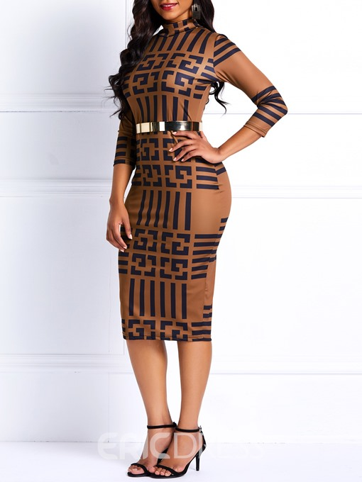 Ericdress Long Sleeves African Fashion Geometric Casual Dress