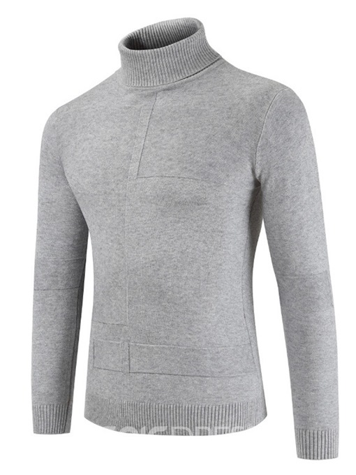 Ericdress Plain Turtle neck Mens Casual Pullover Sweater