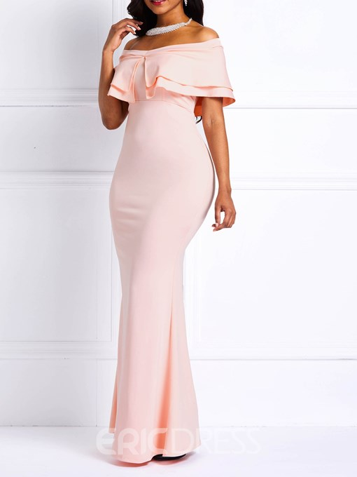 Ericdress Falbala Off the Shoulder Floor-Length Mermaid Party Dress