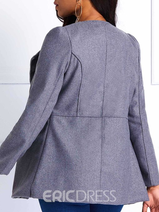 Ericdress Zipper Straight Regular Mid-Length Fall Overcoat