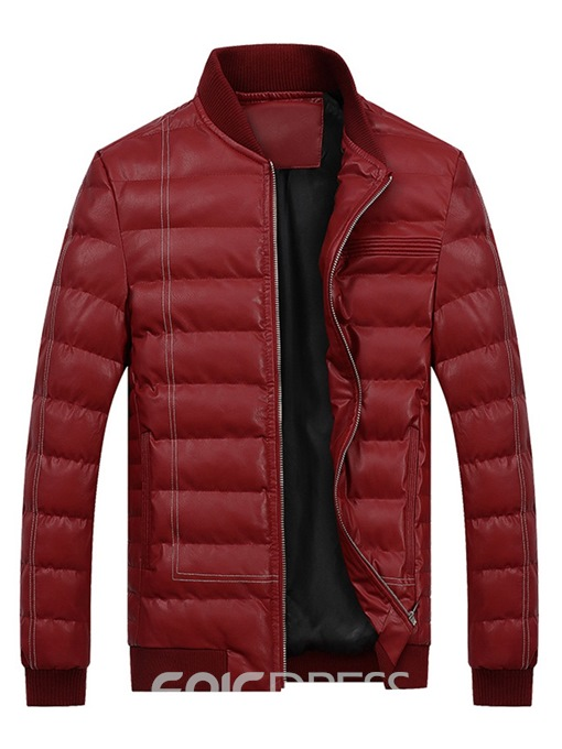 Ericdress Plain Stand Collar Zipper Mens Casual Winter Jacket