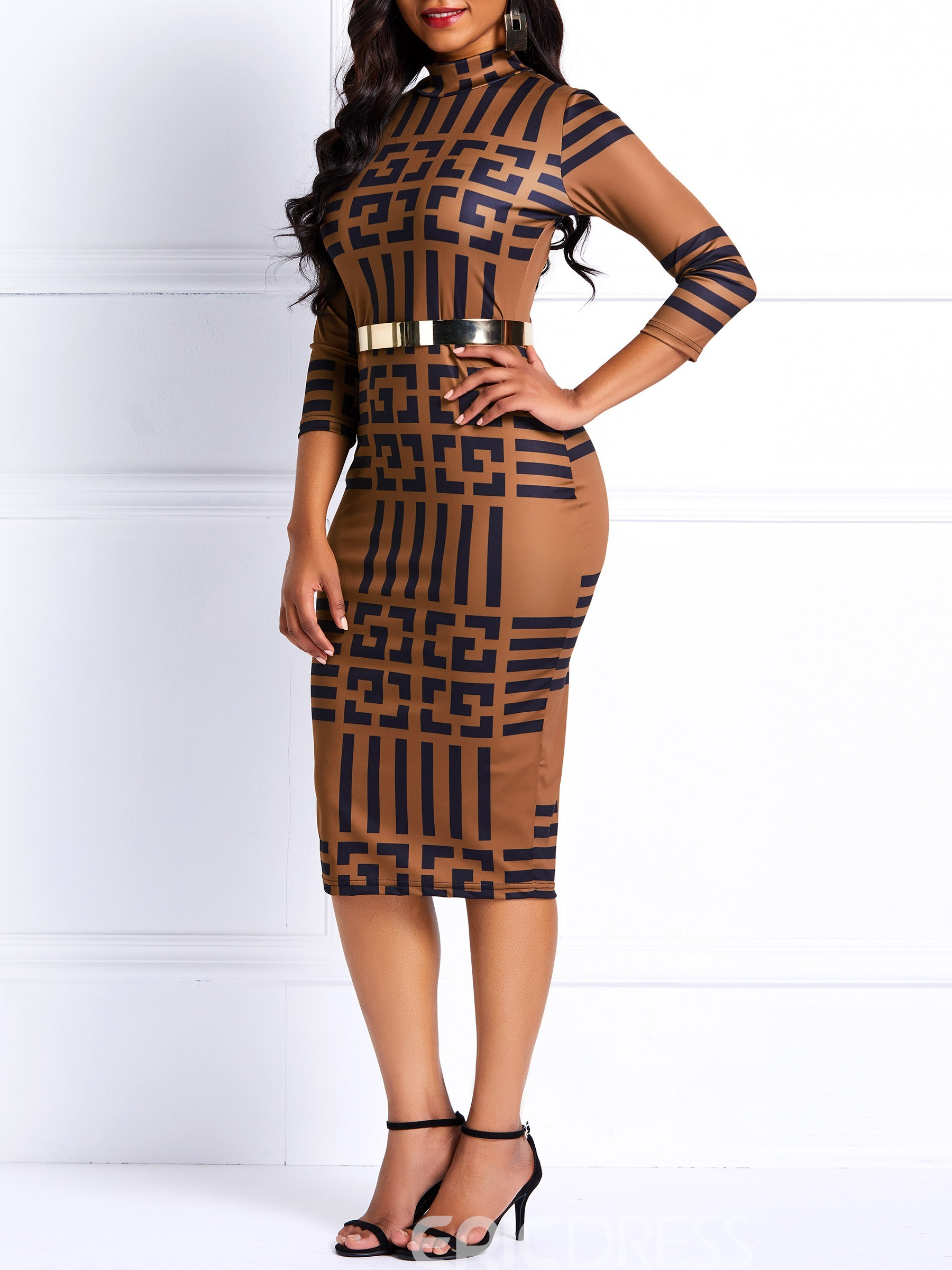 Ericdress Long Sleeves Pullover Geometric Casual Dress