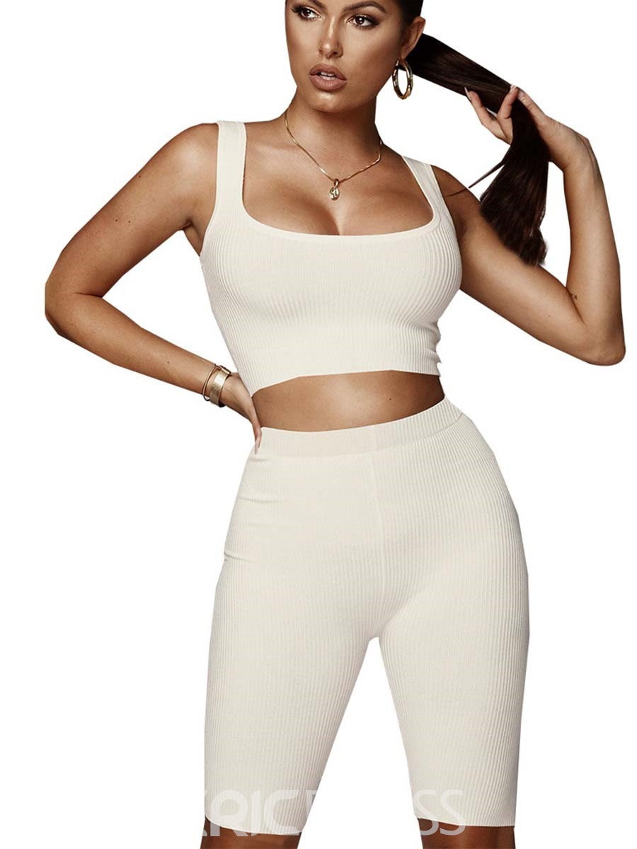 Ericdress Women Solid Breathable Gym Shorts Sleeveless Sports Set