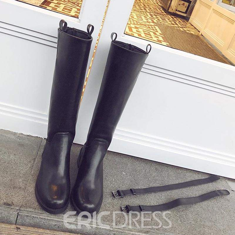Ericdress Round Toe Plain Back Zip Women's Knee High Boots