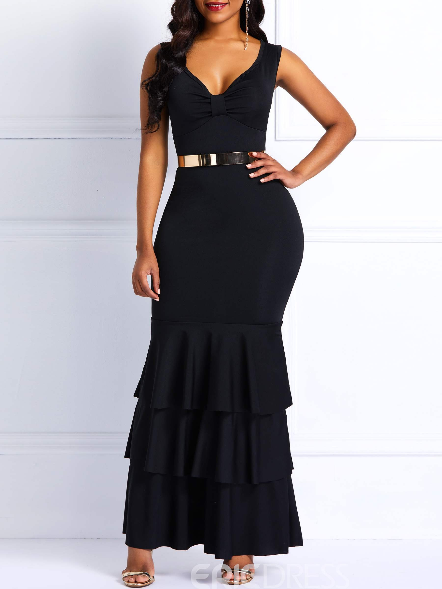 Ericdress Sleeveless Floor-Length V-Neck Mermaid Black Dress