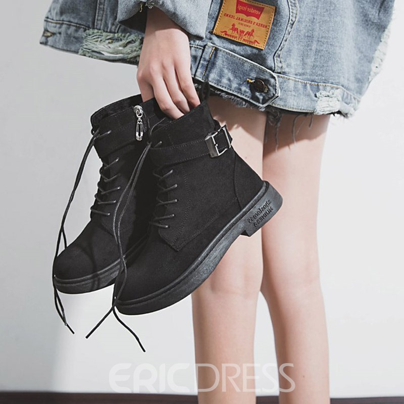 Ericdress Plain Block Heel Round Toe Women's Winter Boots