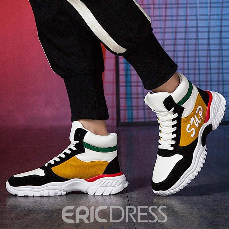 Ericdress High-Cut Upper Lace-Up Round Toe Men's Chic Sneakers