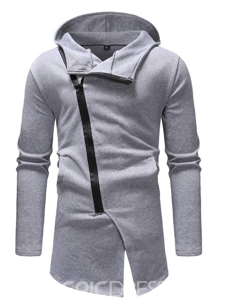 Ericdress Plain Asymmetric Zipper Hooded Mens Casual Cardigan Hoodies