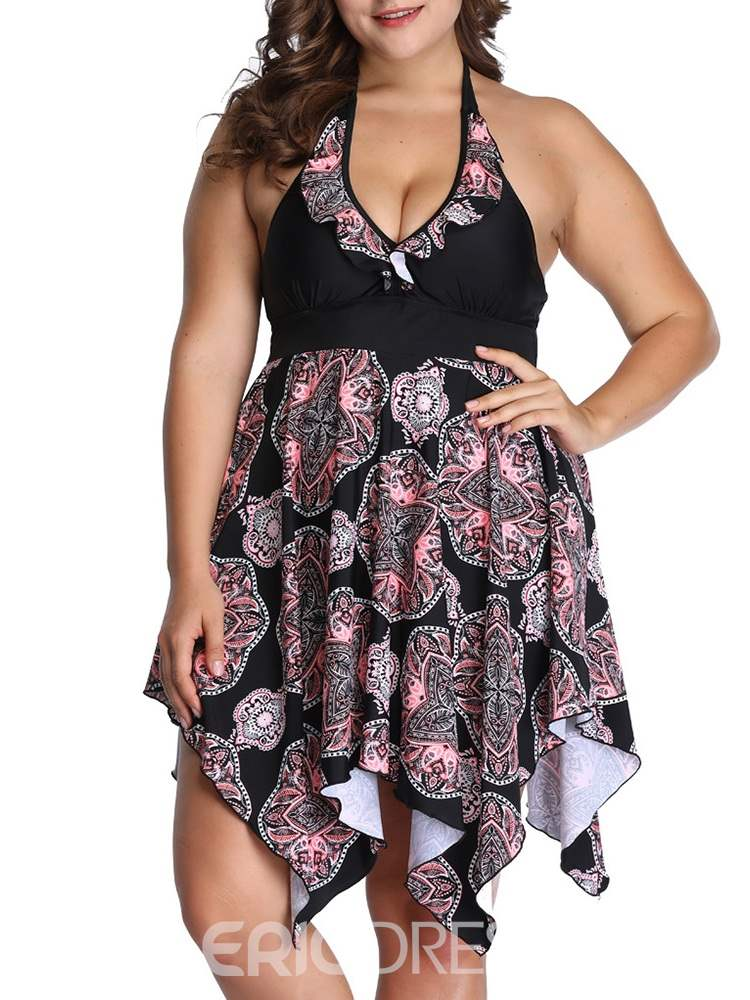 Ericdress Floral Asymmetric Color Block Plus Size Swimwear