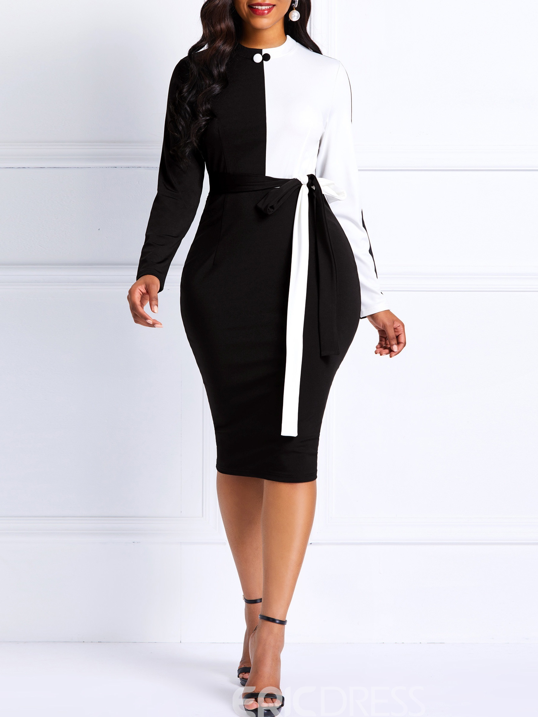 Ericdress Long Sleeves Bodycon Color Block Women's Dress