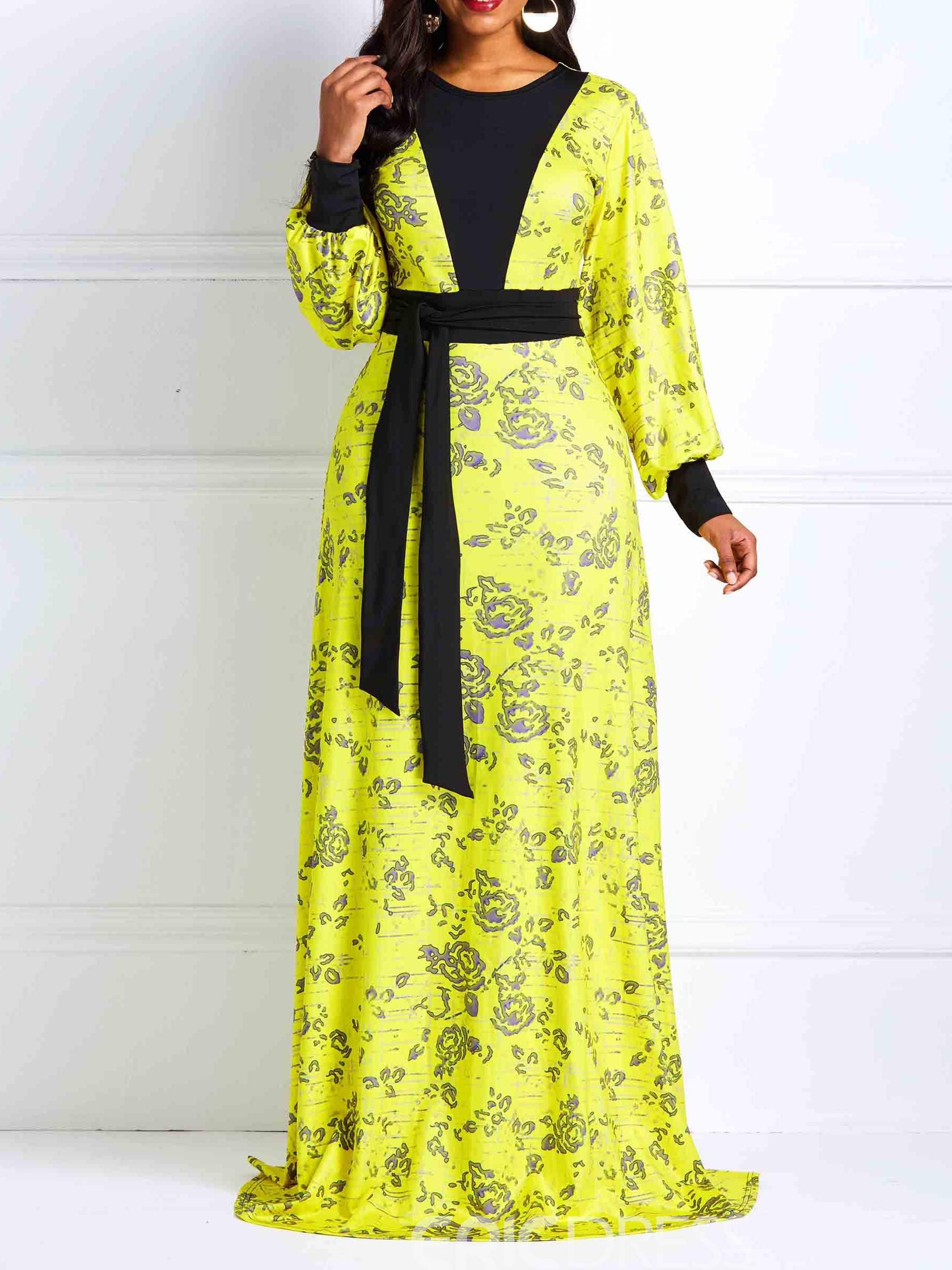 Ericdress Long Sleeve Ankara Floor-Length Floral Expansion Dress