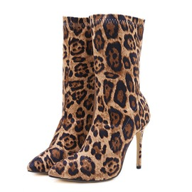 Ericdress Leopard Stiletto Hee Pointed Toe Women's Winter Boots