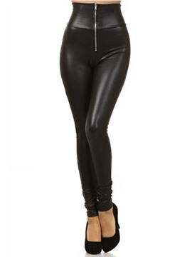 Ericdress Zipper Plain Slim Fashion Leggings
