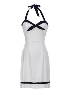 Ericdress Above Knee Sleeveless Bowknot Pullover Halter Dress