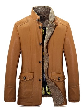 Ericdress Plain Stand Collar Single-Breasted Mens Winter Casual Jacket