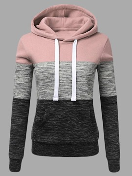 Ericdress Regular Color Block Hooded Winter Hoodie