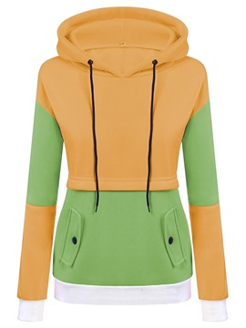 Ericdress Color Block Pocket Regular Fall Long Sleeve Hoodie