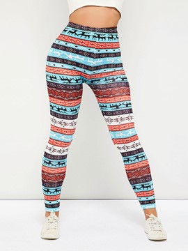 Pantalones leggings de talle alto con estampado animal color block ericdress