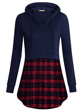 Ericdress Regular Patchwork Plaid Hooded Mid-Length Hoodie