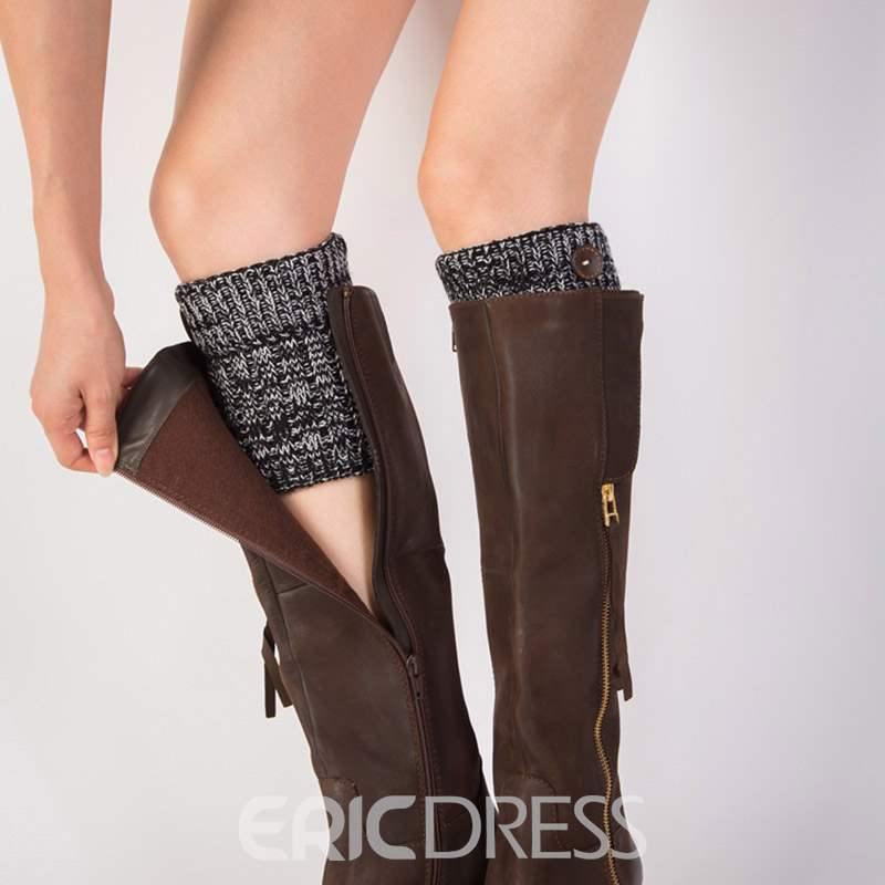 Ericdress Knit Women Motley Boots Cuffs Fastener Socks