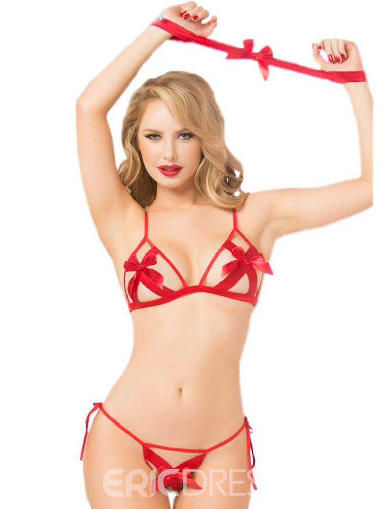 Ericdress Hollow Bowknot Red Sexy Three-Point Bra Set
