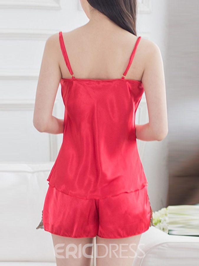 Ericdress Floral Embroidery Sexy Satin Pajama Camisole Short Sets