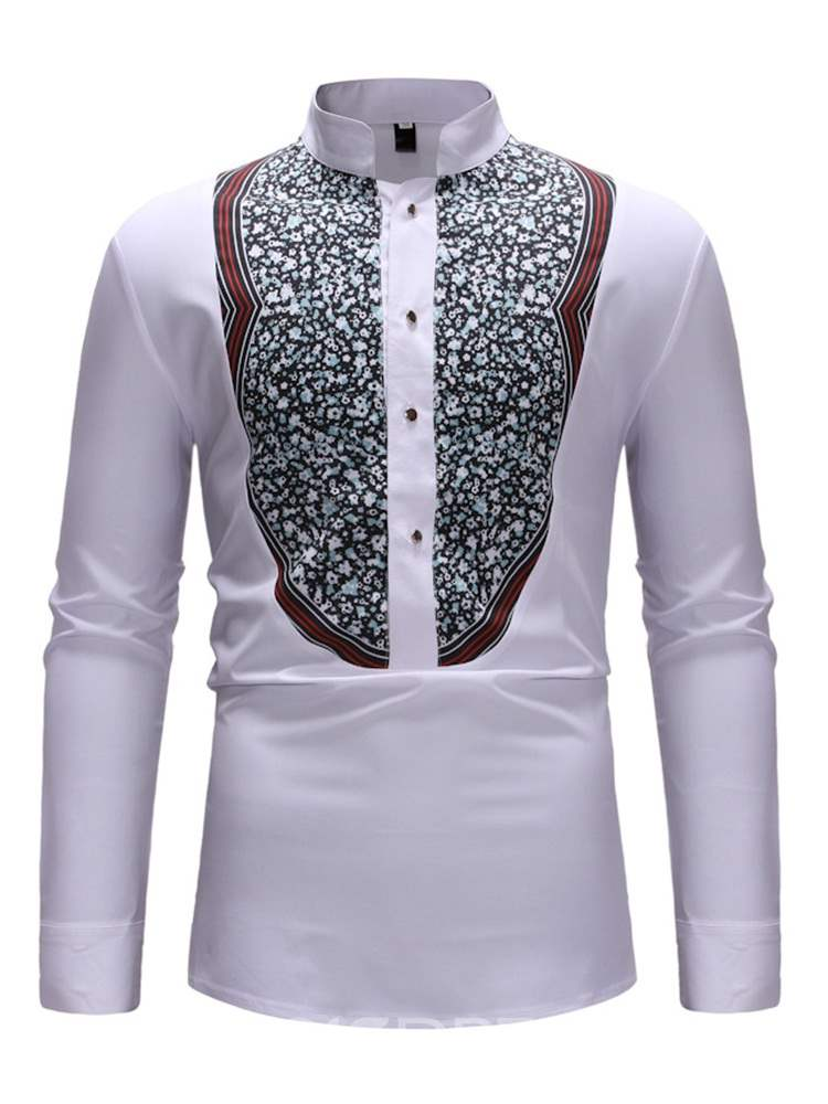 Ericdress Floral Print Stand Collar Slim Mens Casual Shirt