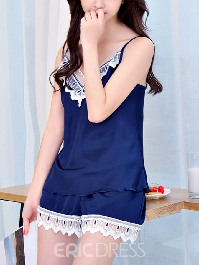 Ericdress Color Block Lace V-Neck Sleepwear Pullover Pajama Suit