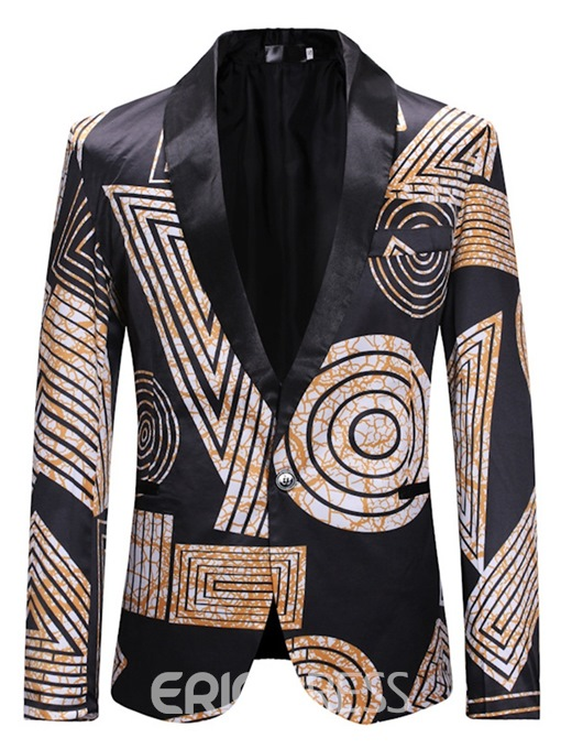 Ericdress Geometric Print One Button Mens Casual leisure Blazer