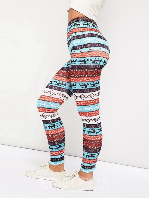 Ericdress Color Block Animal Print High-Waist Legging Pants