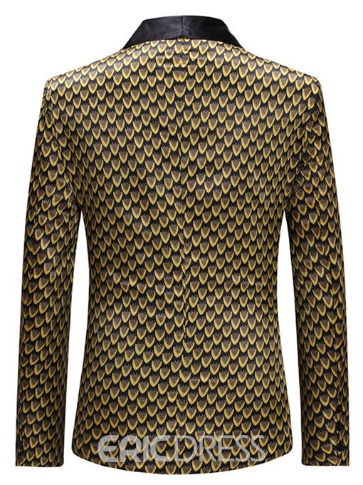 Ericdress Golden Geometric Print Slim One Button Mens Blazer