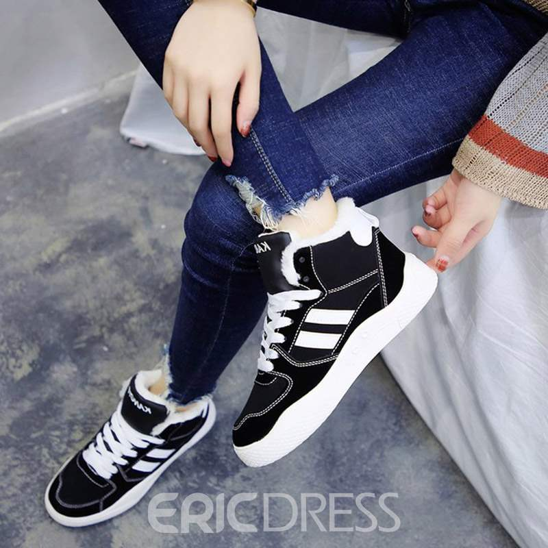Ericdress Lace-Up Front Round Toe Women's Winter Boots