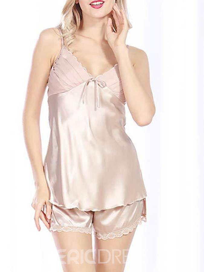 Ericdress Women Plain Lace Sexy Satin Pajama Camisole Short Sets