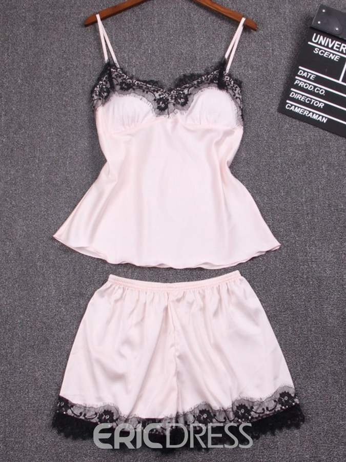 Ericdress Lace with Chest Pad Short Pajama Set for Women