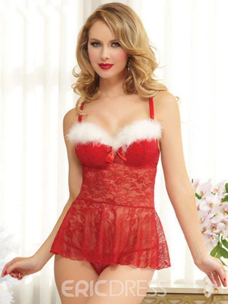 Ericdress Feather See-Through Sexy Christmas Costume Babydoll