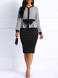 Ericdress Bodycon Long Sleeves Color Block Office Lady Womens Dress фото