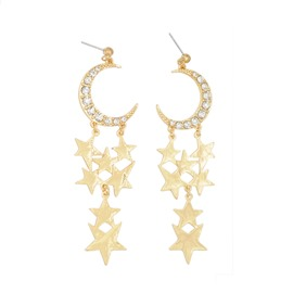 Ericdress Star&Moon Diamante Earrings