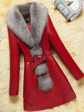 Ericdress Mid-Length Slim PU Winter PU Jacket