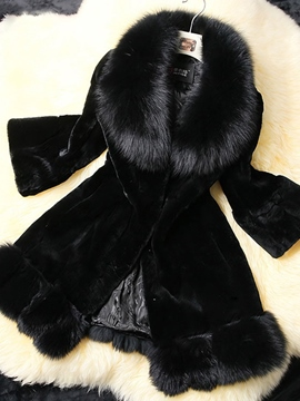 Ericdress Slim Black Leather Faux Fur Overcoat